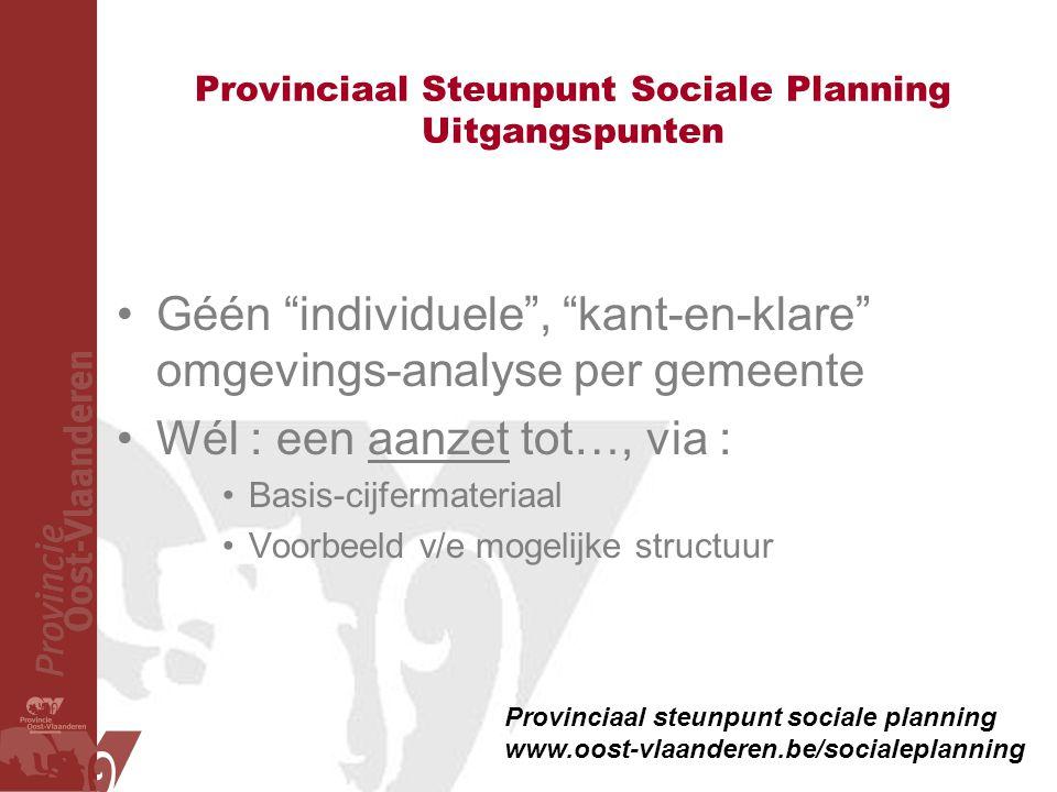 """Provinciaal Steunpunt Sociale Planning Uitgangspunten •Géén """"individuele"""", """"kant-en-klare"""" omgevings-analyse per gemeente •Wél : een aanzet tot…, via"""