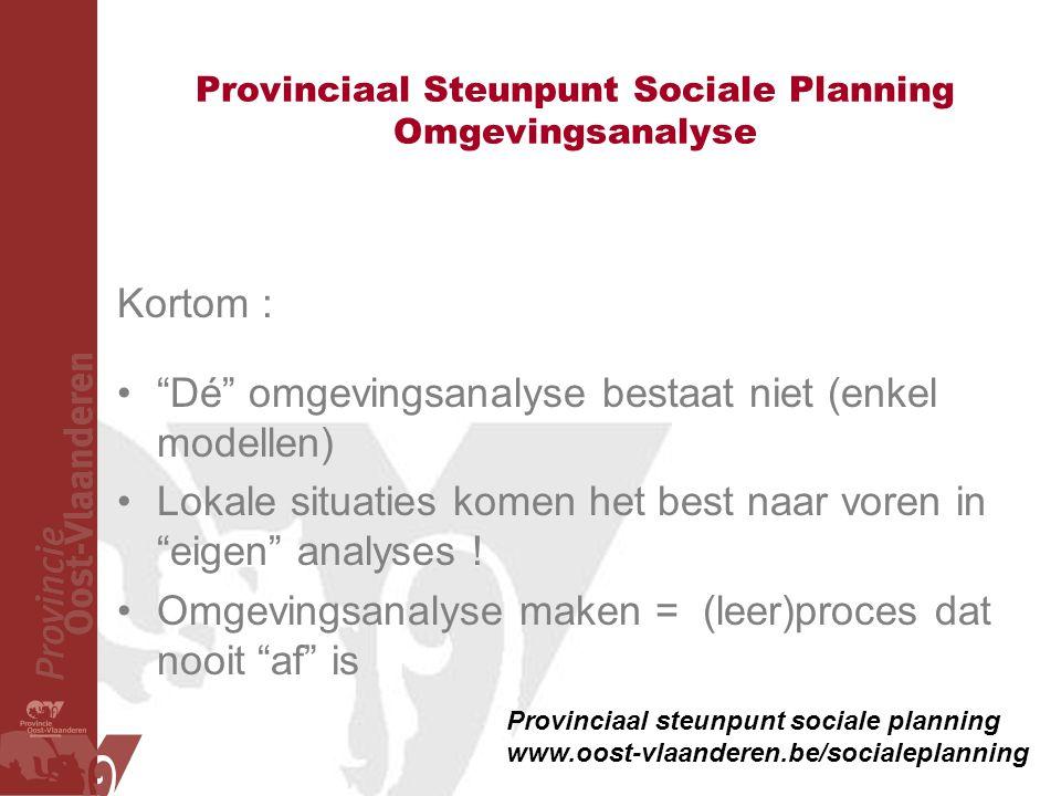 """Provinciaal Steunpunt Sociale Planning Omgevingsanalyse Kortom : •""""Dé"""" omgevingsanalyse bestaat niet (enkel modellen) •Lokale situaties komen het best"""