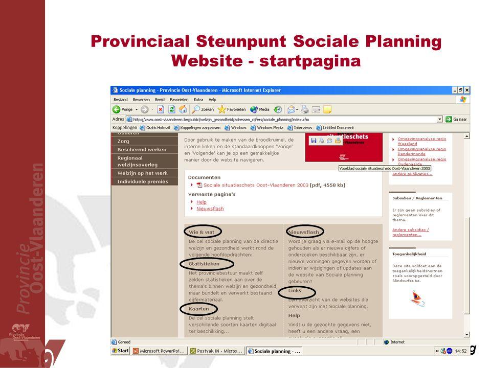 Provinciaal steunpunt sociale planning www.oost-vlaanderen.be/socialeplanning