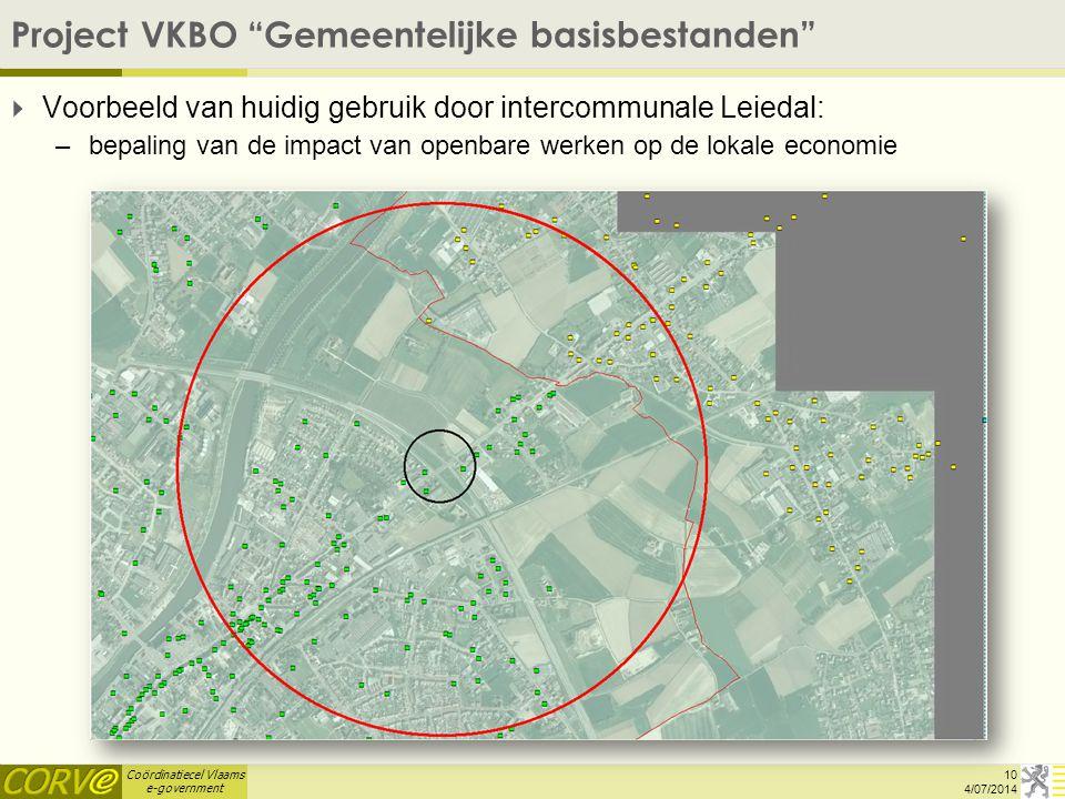 """Coördinatiecel Vlaams e-government Project VKBO """"Gemeentelijke basisbestanden""""  Voorbeeld van huidig gebruik door intercommunale Leiedal: –bepaling v"""