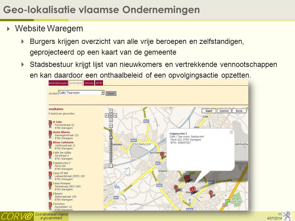 Coördinatiecel Vlaams e-government Geo-lokalisatie vlaamse Ondernemingen 11 4/07/2014   Website Waregem   Burgers krijgen overzicht van alle vrije