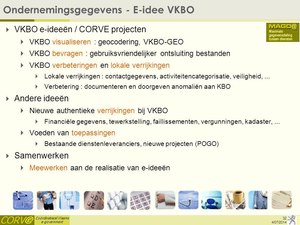 Coördinatiecel Vlaams e-government   VKBO e-ideeën / CORVE projecten   VKBO visualiseren : geocodering, VKBO-GEO   VKBO bevragen : gebruiksvrien