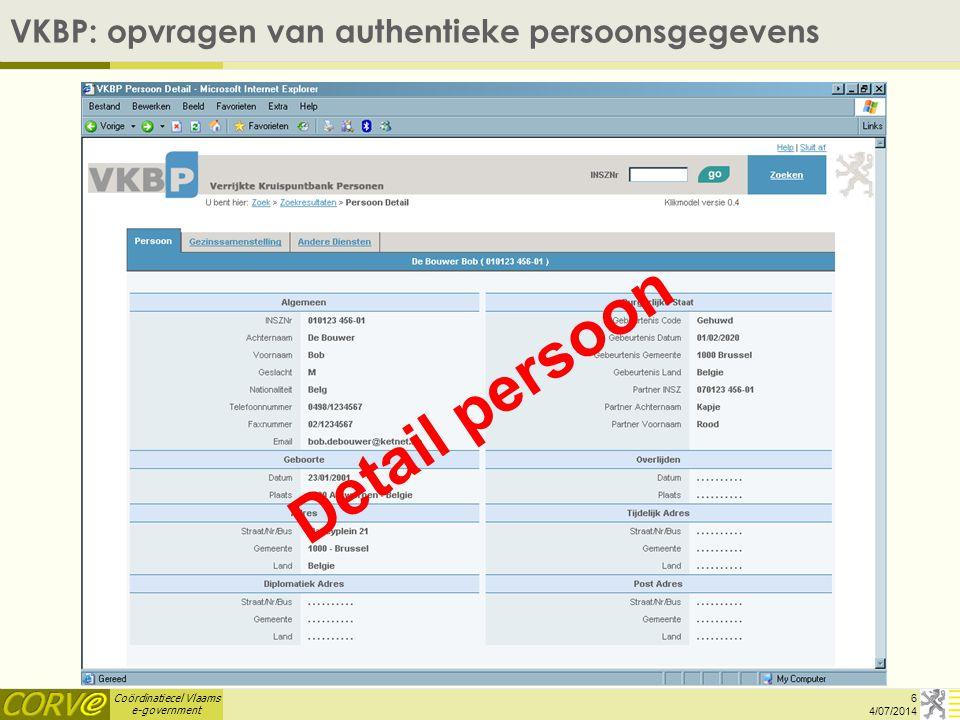 Coördinatiecel Vlaams e-government SW1 Vergunningen - Overzicht 17 4/07/2014