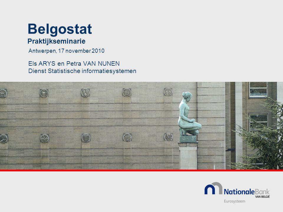Belgostat Praktijkseminarie Els ARYS en Petra VAN NUNEN Dienst Statistische informatiesystemen Antwerpen, 17 november 2010