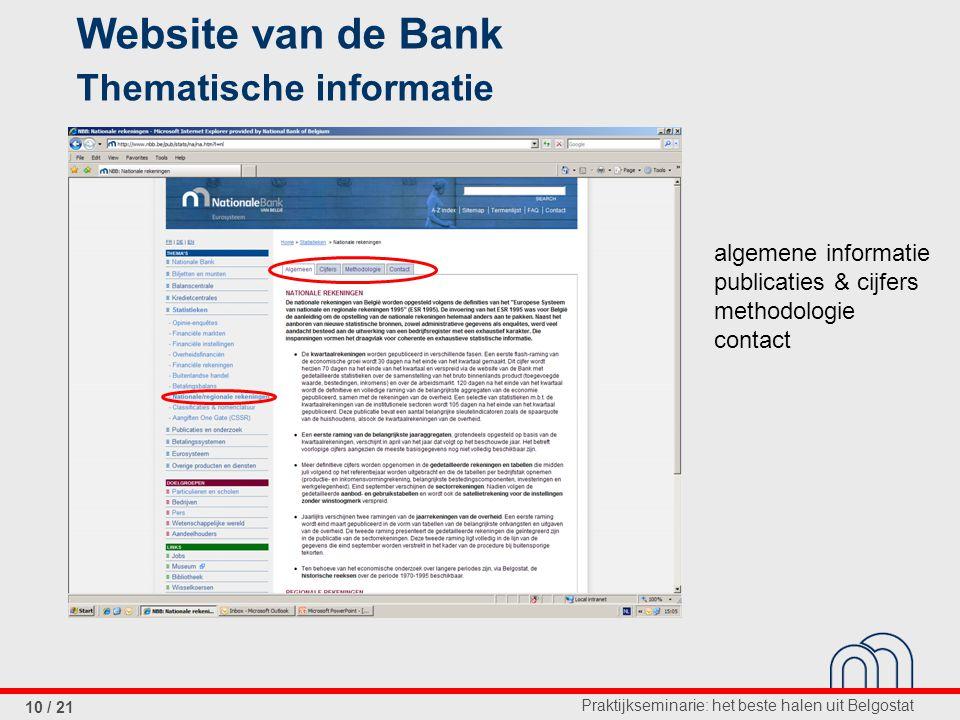 Praktijkseminarie: het beste halen uit Belgostat 10 / 21 Website van de Bank Thematische informatie algemene informatie publicaties & cijfers methodologie contact