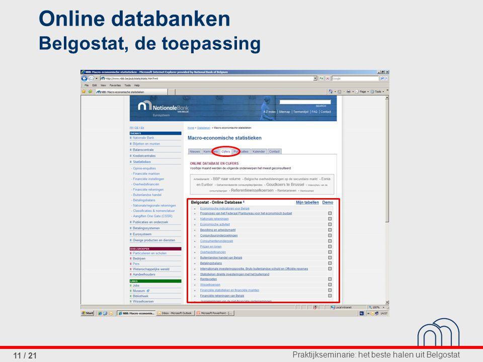 Praktijkseminarie: het beste halen uit Belgostat 11 / 21 Online databanken Belgostat, de toepassing