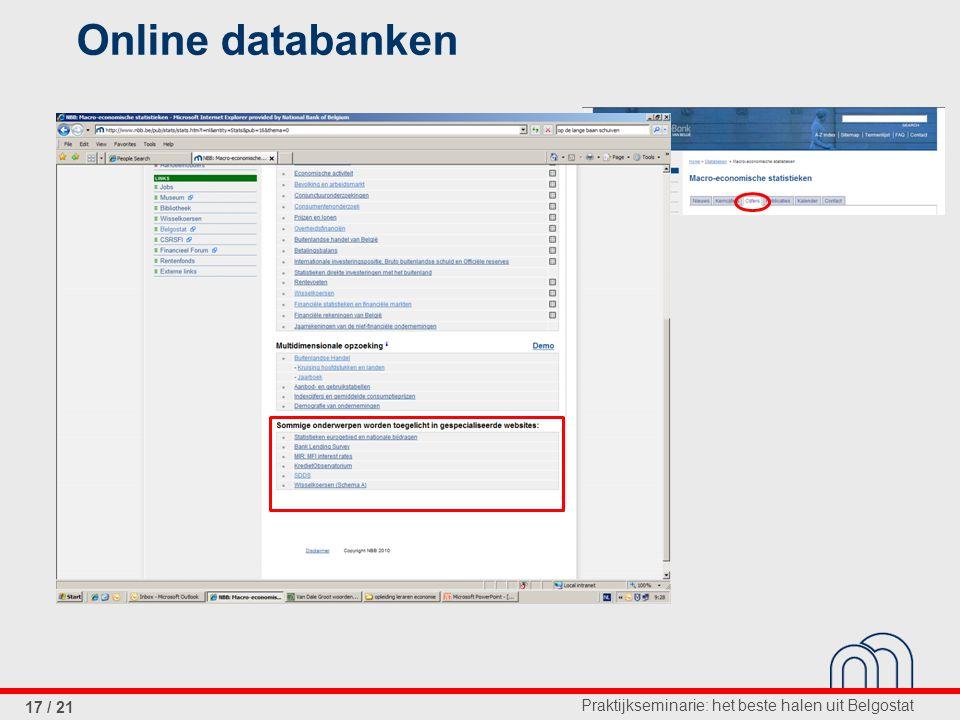 Praktijkseminarie: het beste halen uit Belgostat 17 / 21 Online databanken