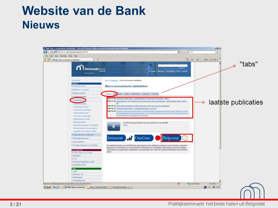 Praktijkseminarie: het beste halen uit Belgostat 3 / 21 Website van de Bank Nieuws laatste publicaties tabs