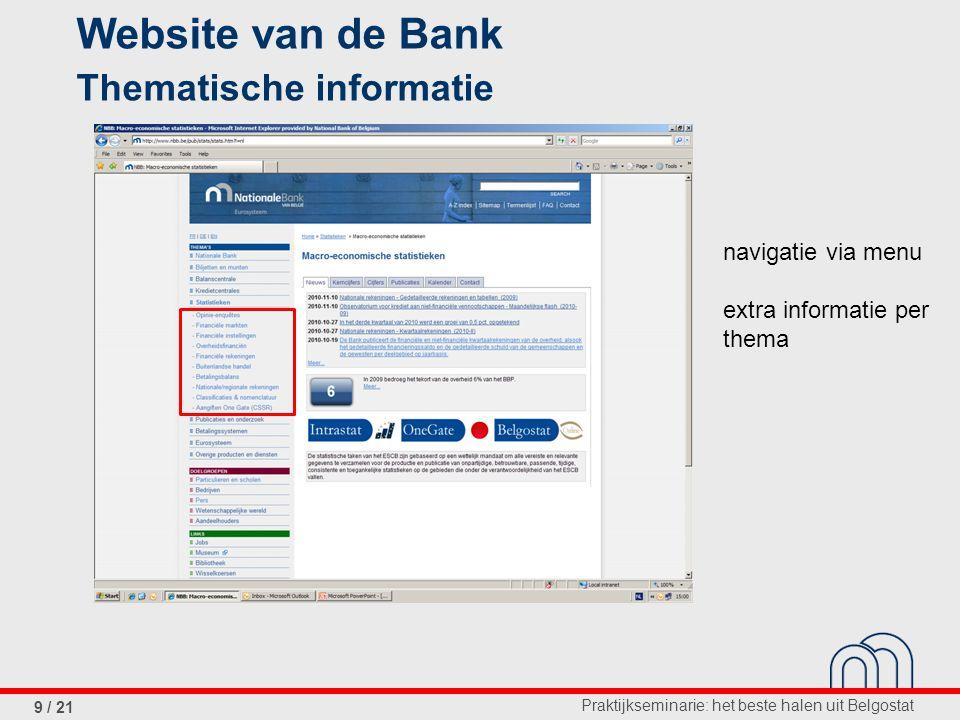 Praktijkseminarie: het beste halen uit Belgostat 9 / 21 Website van de Bank Thematische informatie navigatie via menu extra informatie per thema