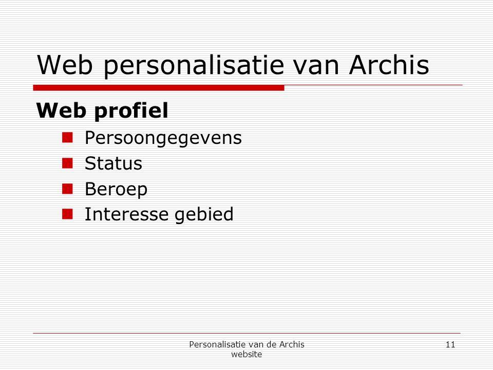 Personalisatie van de Archis website 11 Web personalisatie van Archis Web profiel  Persoongegevens  Status  Beroep  Interesse gebied