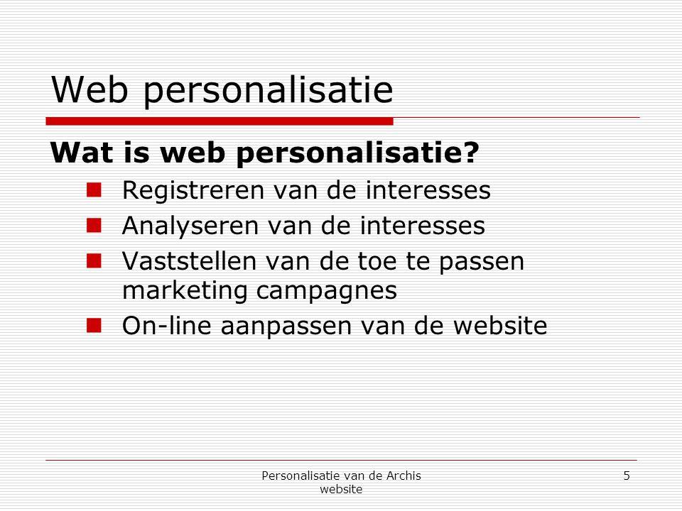 Personalisatie van de Archis website 26 Interesse registratie systeem