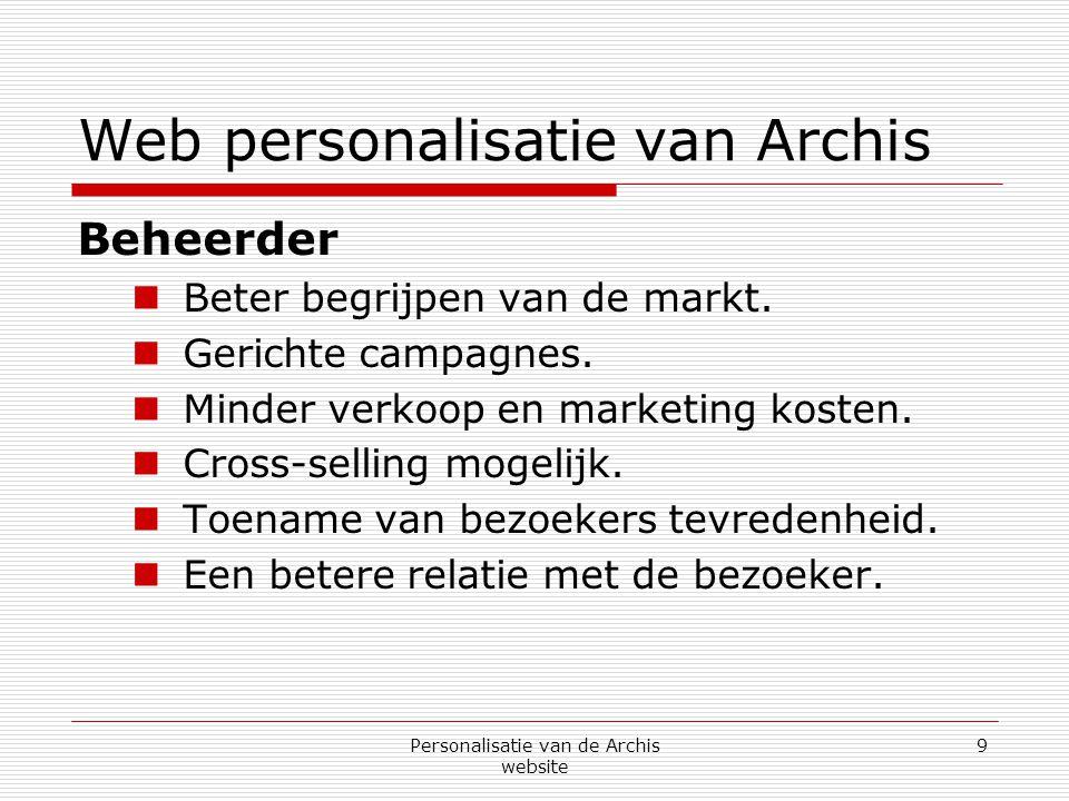 Personalisatie van de Archis website 10 Web personalisatie van Archis Wat is er nodig voor het personaliseren van Archis.