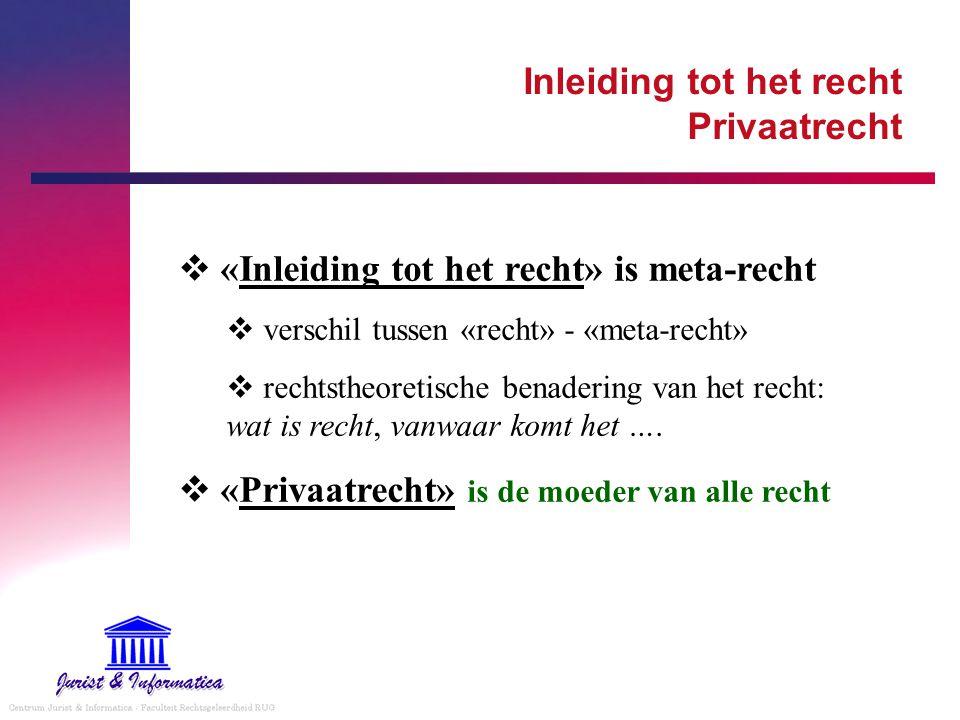 Inleiding tot het recht Privaatrecht  «Inleiding tot het recht» is meta-recht  verschil tussen «recht» - «meta-recht»  rechtstheoretische benaderin