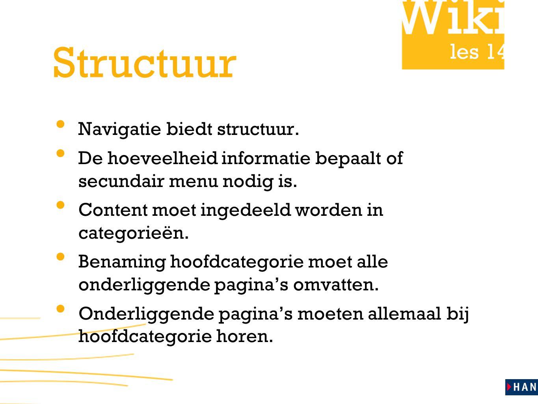 les 14 Structuur • Navigatie biedt structuur.
