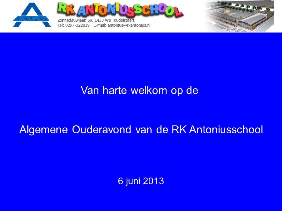 Van harte welkom op de Algemene Ouderavond van de RK Antoniusschool 6 juni 2013