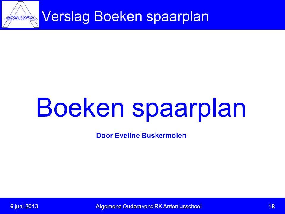 Verslag Boeken spaarplan 6 juni 2013Algemene Ouderavond RK Antoniusschool 18 Boeken spaarplan Door Eveline Buskermolen