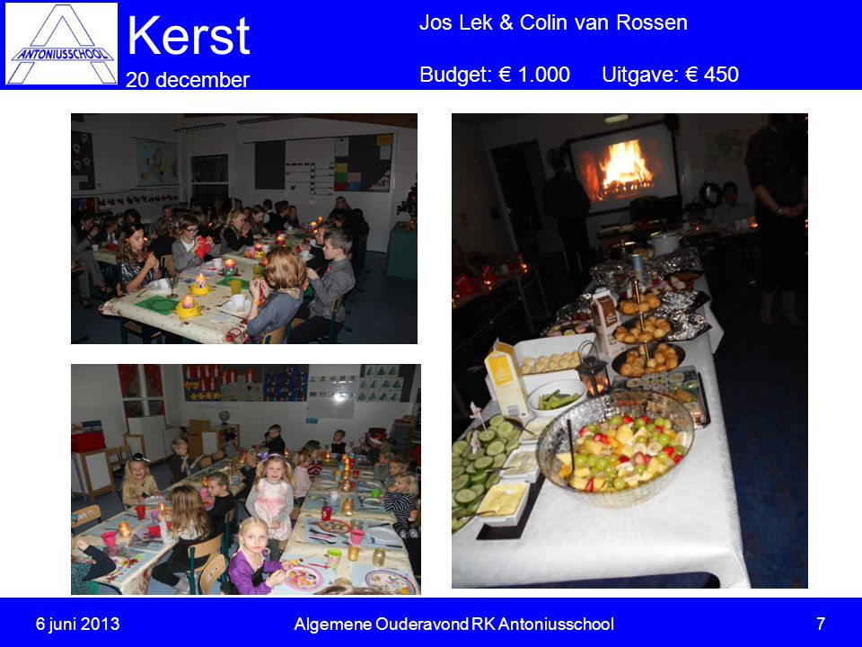 6 juni 2013Algemene Ouderavond RK Antoniusschool 8 Kerst 20 december Jos Lek & Colin van Rossen Budget: € 1.000 Uitgave: € 450 Uitgave: 20 December