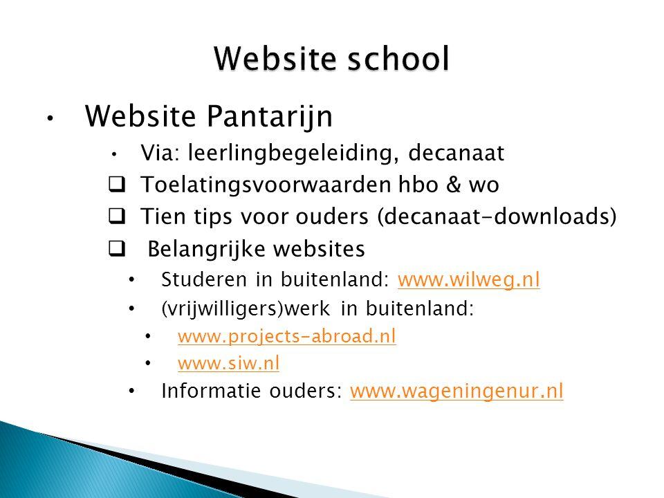 •Website Pantarijn •Via: leerlingbegeleiding, decanaat  Toelatingsvoorwaarden hbo & wo  Tien tips voor ouders (decanaat-downloads)  Belangrijke web