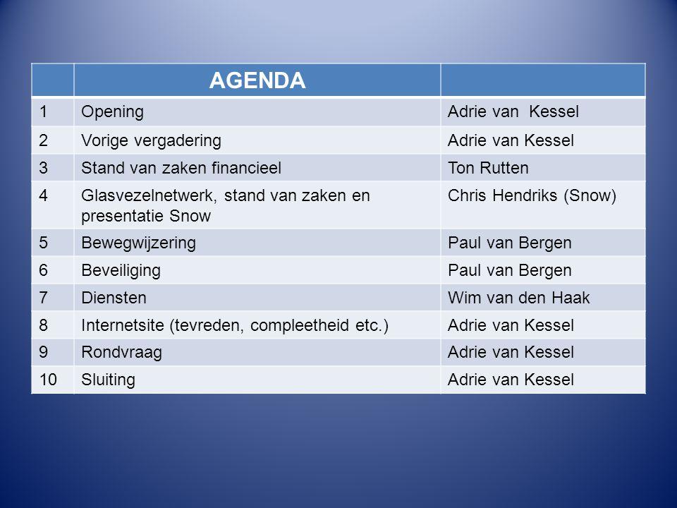 AGENDA 1OpeningAdrie van Kessel 2Vorige vergaderingAdrie van Kessel 3Stand van zaken financieelTon Rutten 4Glasvezelnetwerk, stand van zaken en presen