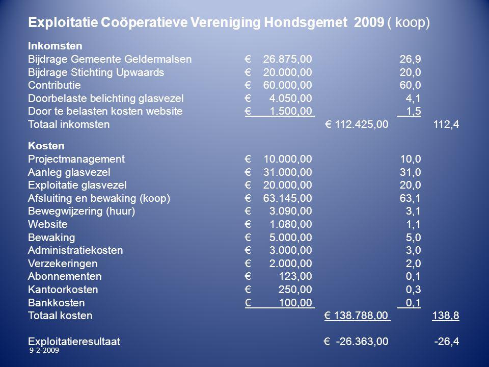 9-2-2009 Exploitatie Coöperatieve Vereniging Hondsgemet 2009 ( koop) Inkomsten Bijdrage Gemeente Geldermalsen € 26.875,00 26,9 Bijdrage Stichting Upwa