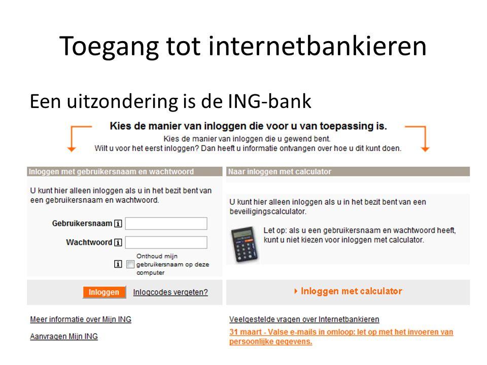 Toegang tot internetbankieren Bij de ING-bank heb je twee mogelijkheden: PostbankING-bank GebruikersnaamBankrekeningnummer WachtwoordToegangscode TAN-codeBankpaslezer (Transactie Autorisatie Nummer) is een eenmalig wachtwoordeenmalig wachtwoord