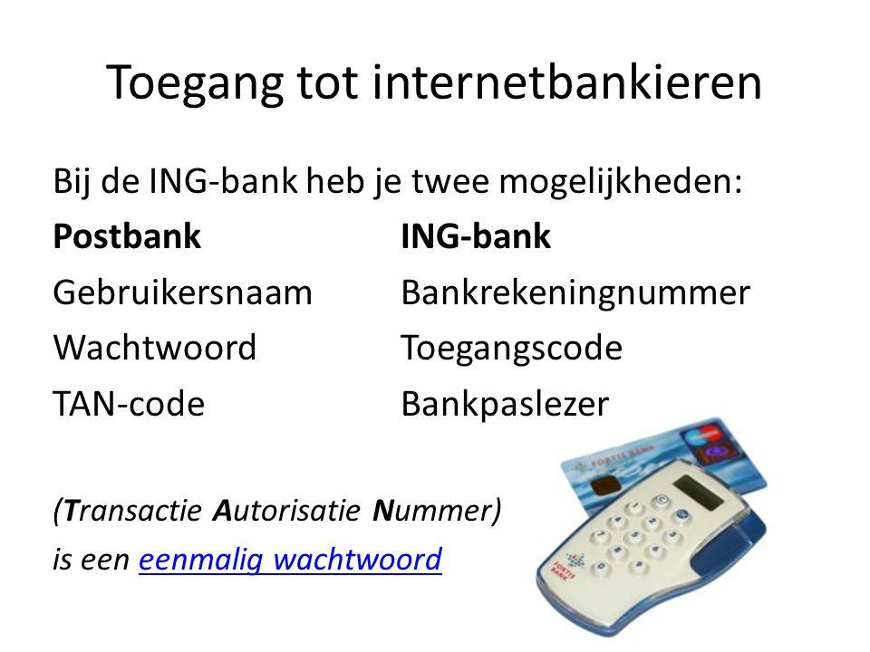 Toegang tot internetbankieren Bij de ING-bank heb je twee mogelijkheden: PostbankING-bank GebruikersnaamBankrekeningnummer WachtwoordToegangscode TAN-