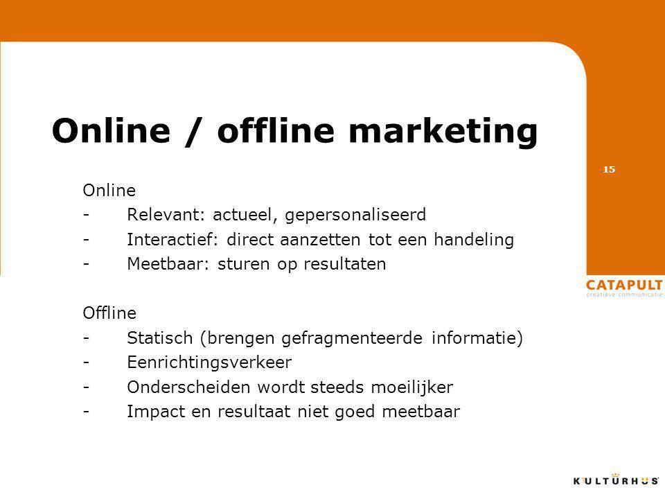 Online / offline marketing Online -Relevant: actueel, gepersonaliseerd -Interactief: direct aanzetten tot een handeling -Meetbaar: sturen op resultaten Offline -Statisch (brengen gefragmenteerde informatie) -Eenrichtingsverkeer -Onderscheiden wordt steeds moeilijker -Impact en resultaat niet goed meetbaar 15