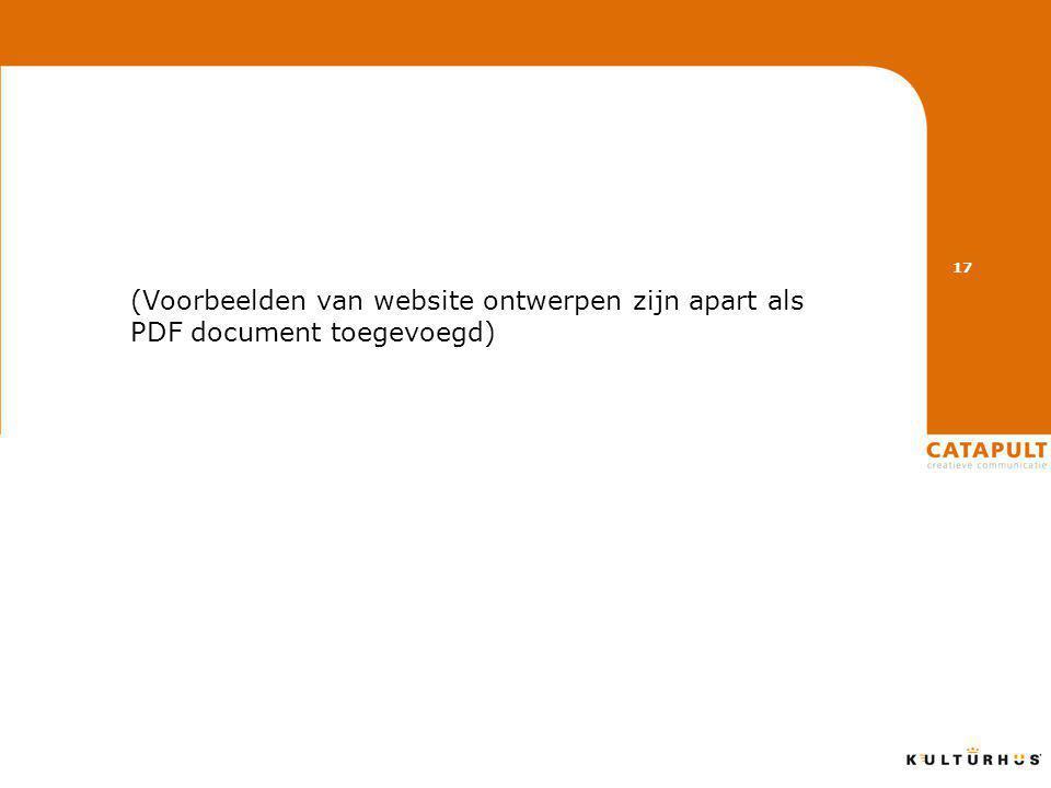 (Voorbeelden van website ontwerpen zijn apart als PDF document toegevoegd) 17