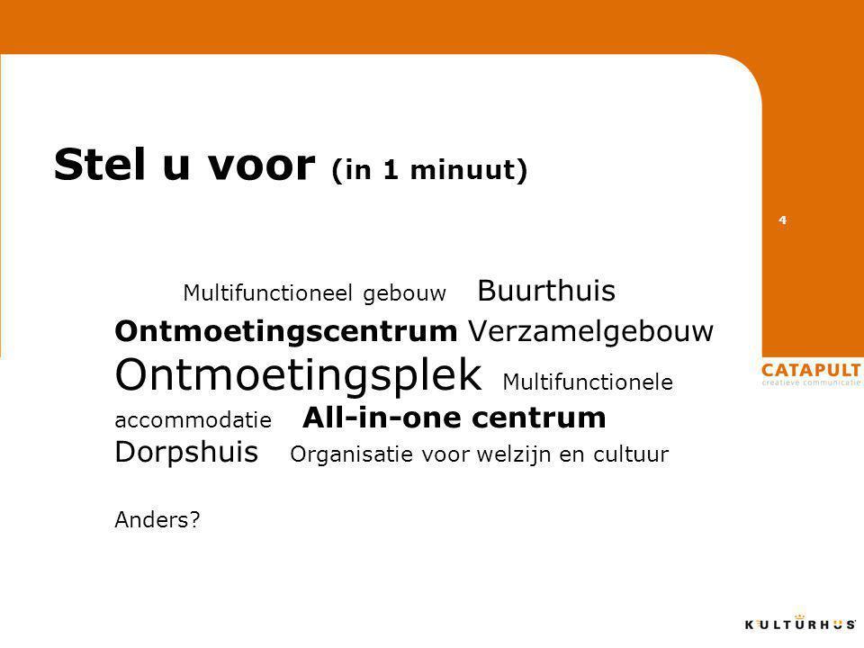 Stel u voor (in 1 minuut) Multifunctioneel gebouw Buurthuis Ontmoetingscentrum Verzamelgebouw Ontmoetingsplek Multifunctionele accommodatie All-in-one centrum Dorpshuis Organisatie voor welzijn en cultuur Anders.