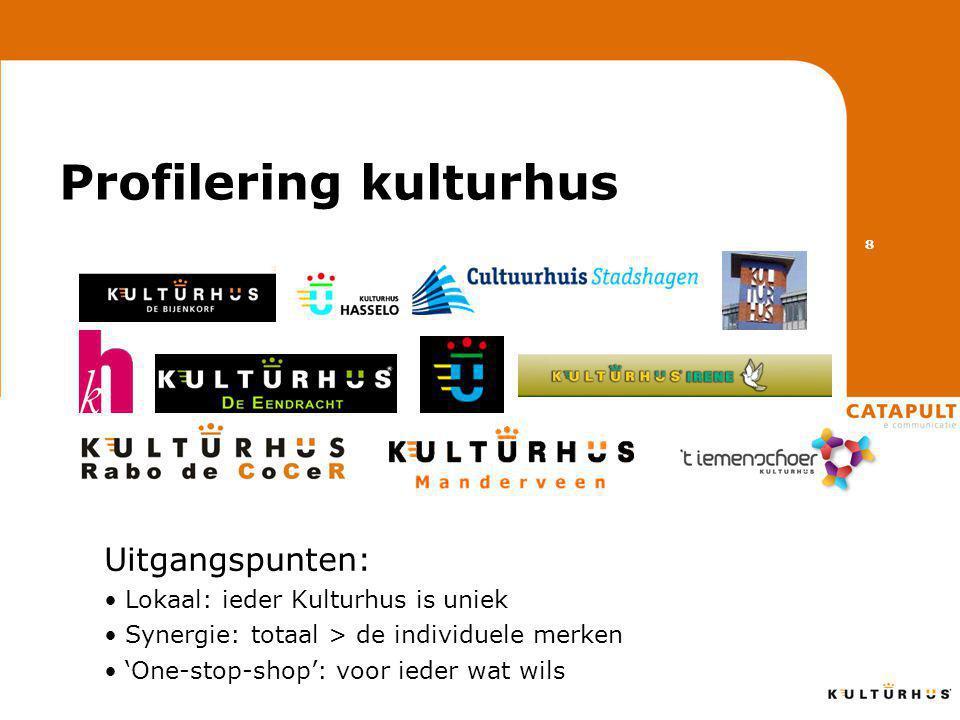 Profilering kulturhus Uitgangspunten: • Lokaal: ieder Kulturhus is uniek • Synergie: totaal > de individuele merken • 'One-stop-shop': voor ieder wat wils 8