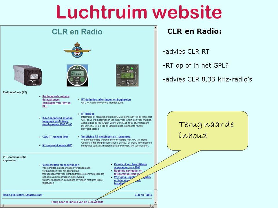 Luchtruim website CLR en Radio: Terug naar de inhoud -RT op of in het GPL.