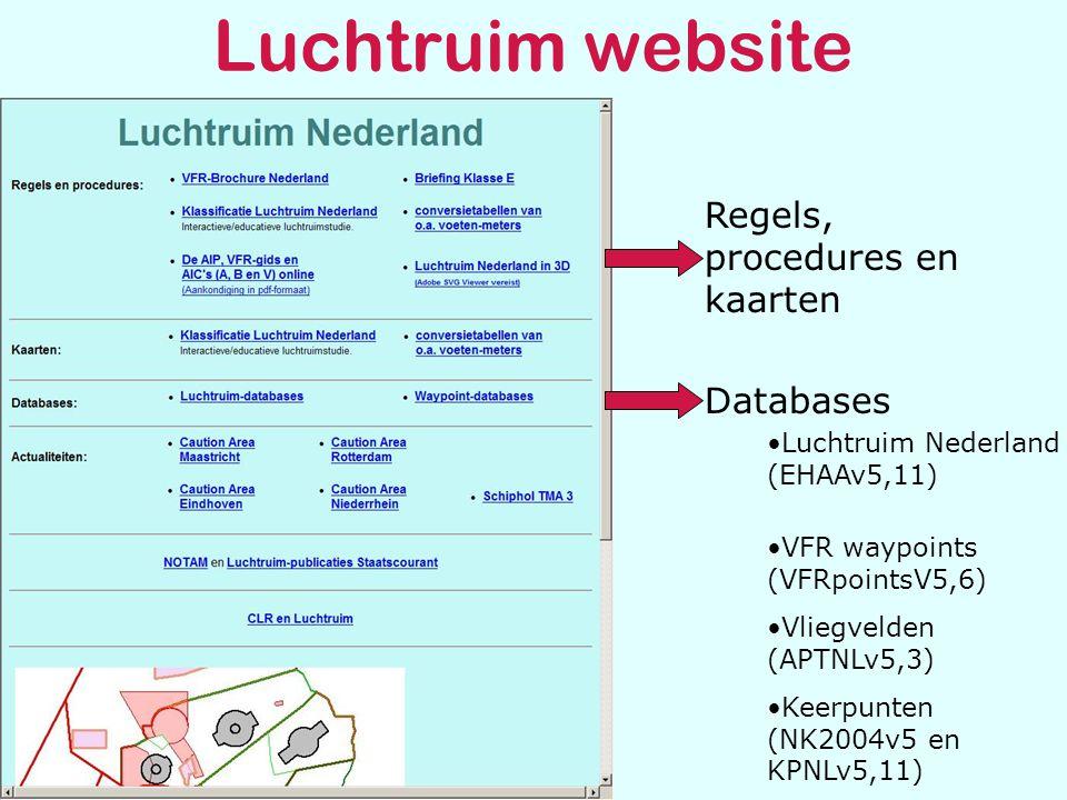 Luchtruim website Regels, procedures en kaarten Databases •Luchtruim Nederland (EHAAv5,11) •VFR waypoints (VFRpointsV5,6) •Vliegvelden (APTNLv5,3) •Keerpunten (NK2004v5 en KPNLv5,11)