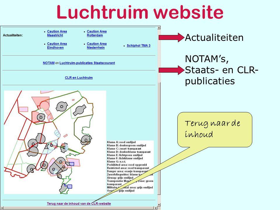 Luchtruim website NOTAM's, Staats- en CLR- publicaties Actualiteiten Terug naar de inhoud