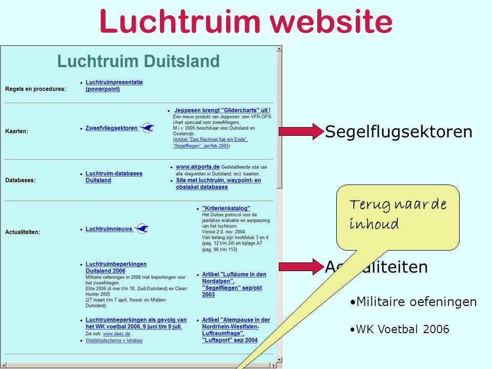Luchtruim website Segelflugsektoren Actualiteiten •Militaire oefeningen •WK Voetbal 2006 Terug naar de inhoud