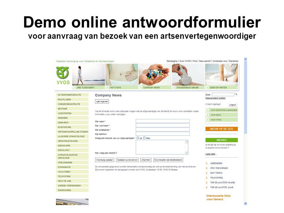 Demo online antwoordformulier voor aanvraag van bezoek van een artsenvertegenwoordiger