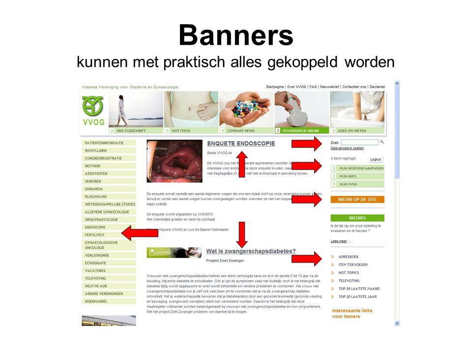 Banners kunnen met praktisch alles gekoppeld worden