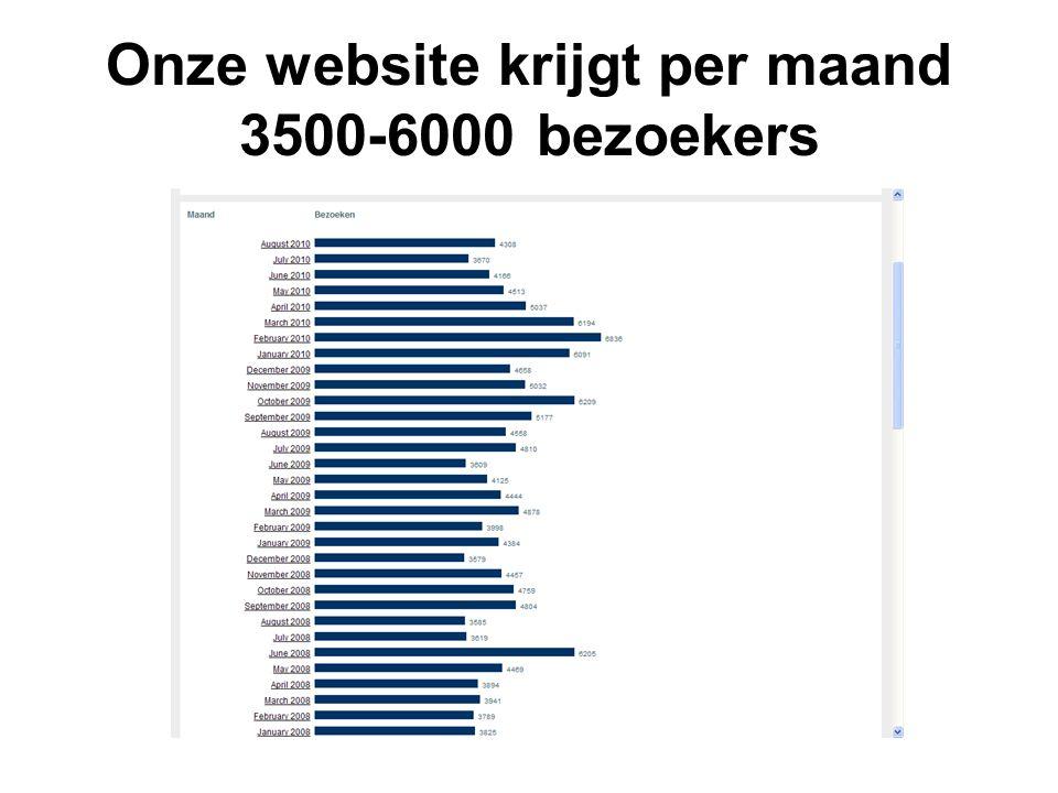 Onze website krijgt per maand 3500-6000 bezoekers
