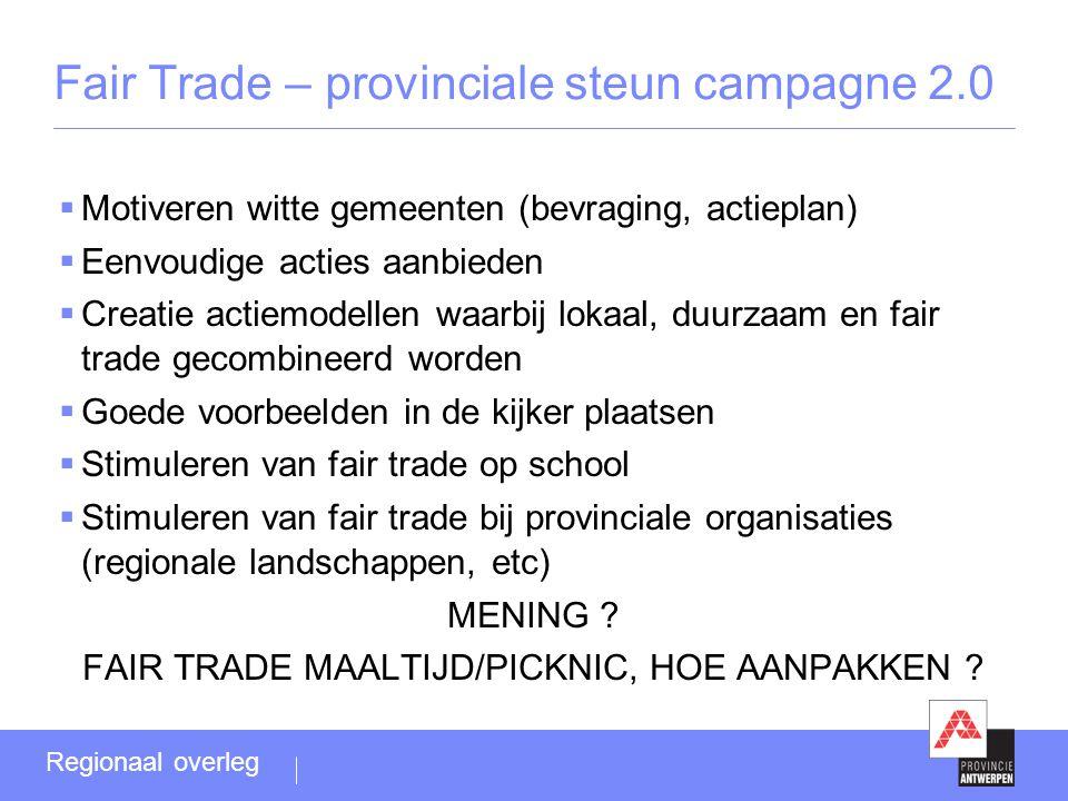  Motiveren witte gemeenten (bevraging, actieplan)  Eenvoudige acties aanbieden  Creatie actiemodellen waarbij lokaal, duurzaam en fair trade gecomb