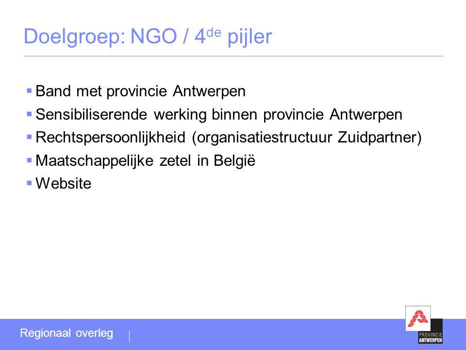 Doelgroep: NGO / 4 de pijler  Band met provincie Antwerpen  Sensibiliserende werking binnen provincie Antwerpen  Rechtspersoonlijkheid (organisatiestructuur Zuidpartner)  Maatschappelijke zetel in België  Website Regionaal overleg