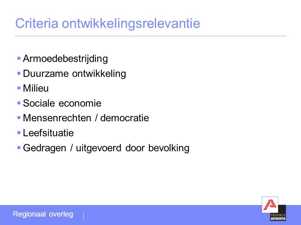 Criteria ontwikkelingsrelevantie  Armoedebestrijding  Duurzame ontwikkeling  Milieu  Sociale economie  Mensenrechten / democratie  Leefsituatie  Gedragen / uitgevoerd door bevolking Regionaal overleg