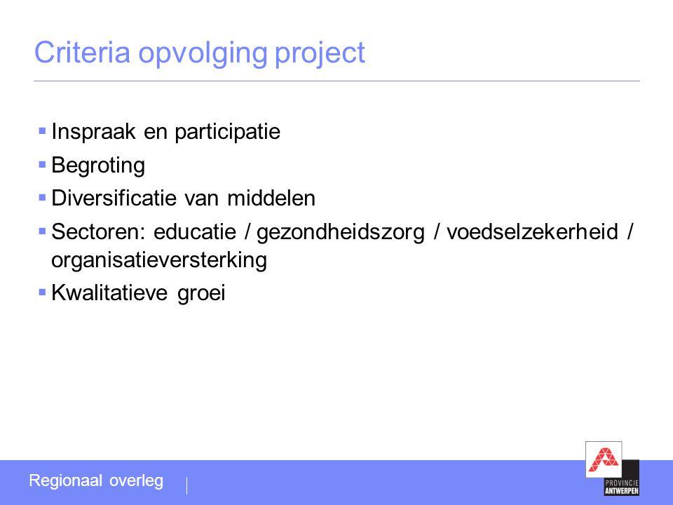Criteria opvolging project  Inspraak en participatie  Begroting  Diversificatie van middelen  Sectoren: educatie / gezondheidszorg / voedselzekerh