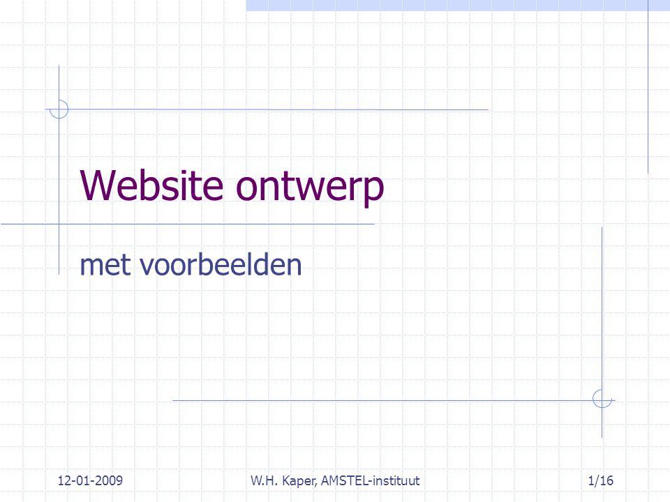12-01-2009W.H. Kaper, AMSTEL-instituut1/16 Website ontwerp met voorbeelden