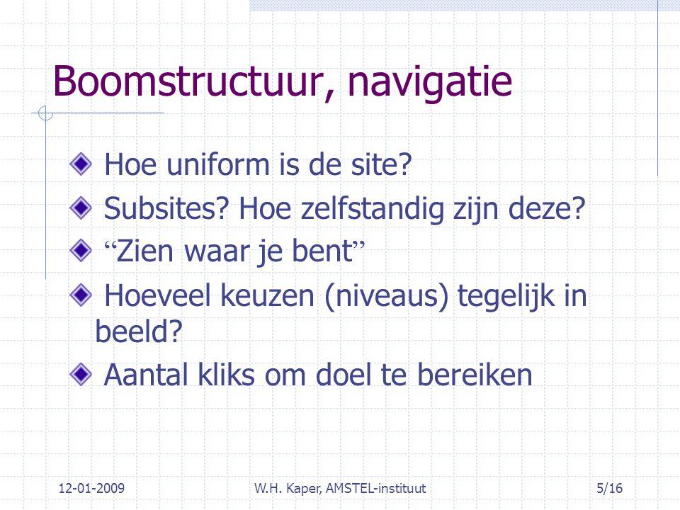 12-01-2009W.H. Kaper, AMSTEL-instituut5/16 Boomstructuur, navigatie Hoe uniform is de site.