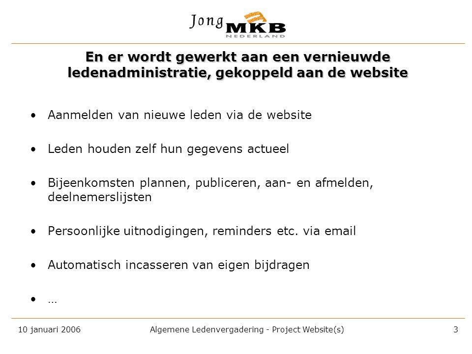 10 januari 2006 Algemene Ledenvergadering - Project Website(s) 2 Eemland Eindhoven – Helmond Flevoland Gooi & Vechtstreek Groningen Utrecht De landeli
