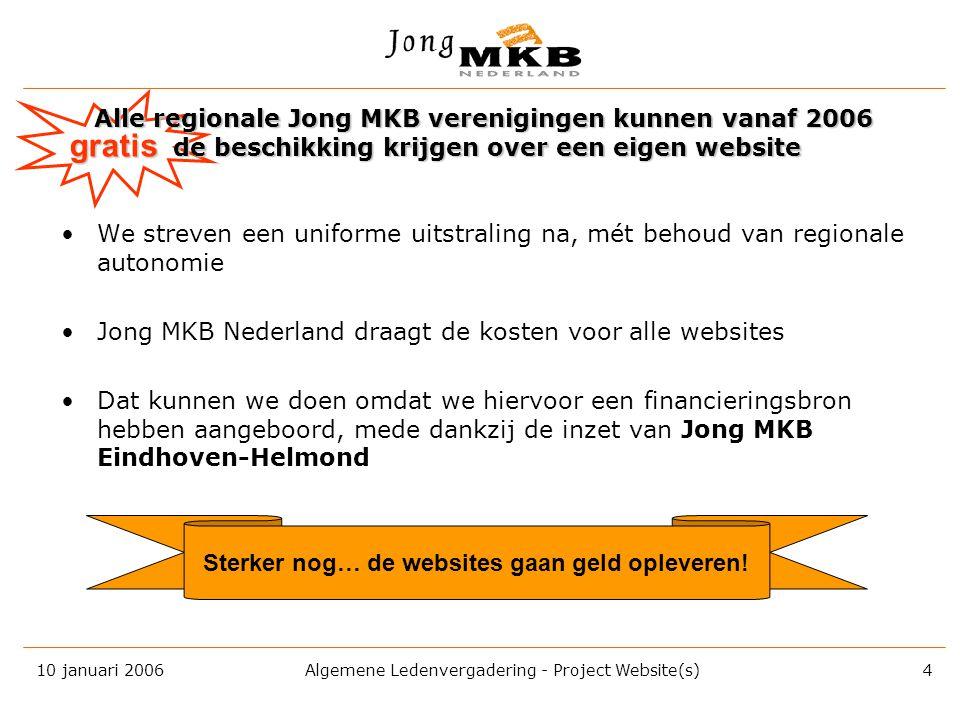 10 januari 2006 Algemene Ledenvergadering - Project Website(s) 3 En er wordt gewerkt aan een vernieuwde ledenadministratie, gekoppeld aan de website •