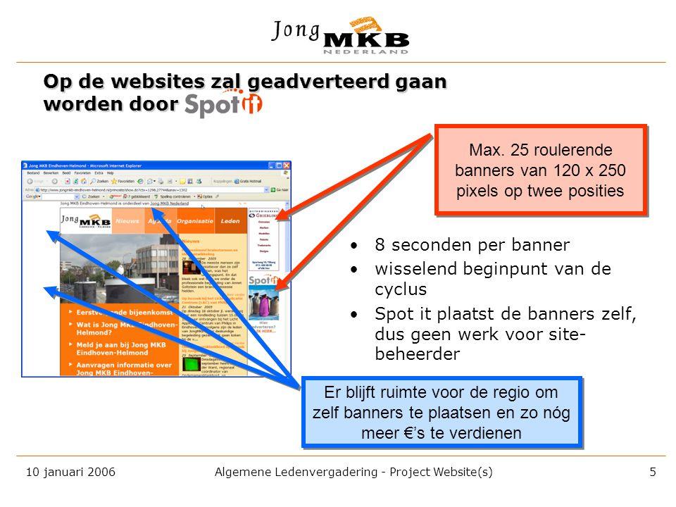 10 januari 2006 Algemene Ledenvergadering - Project Website(s) 4 gratis Alle regionale Jong MKB verenigingen kunnen vanaf 2006 de beschikking krijgen