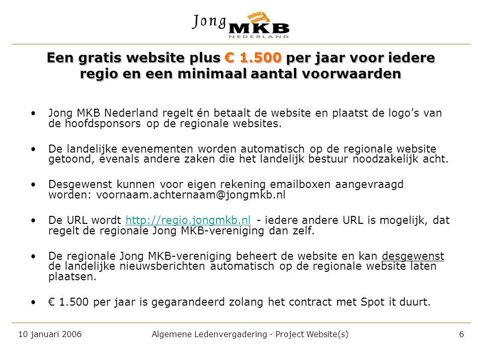 10 januari 2006 Algemene Ledenvergadering - Project Website(s) 5 Op de websites zal geadverteerd gaan worden door •8 seconden per banner •wisselend be