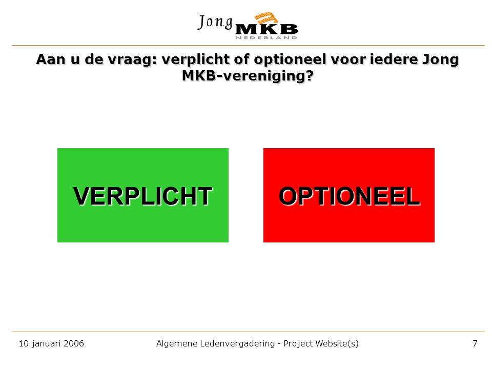 10 januari 2006 Algemene Ledenvergadering - Project Website(s) 6 Een gratis website plus € 1.500 per jaar voor iedere regio en een minimaal aantal voo