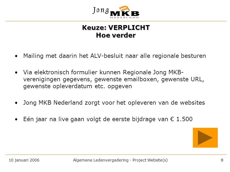 10 januari 2006 Algemene Ledenvergadering - Project Website(s) 7 Aan u de vraag: verplicht of optioneel voor iedere Jong MKB-vereniging? VERPLICHT OPT