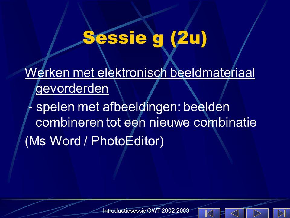 Introductiesessie OWT 2002-2003 Sessie g (2u) Werken met elektronisch beeldmateriaal gevorderden - spelen met afbeeldingen: beelden combineren tot een nieuwe combinatie (Ms Word / PhotoEditor)
